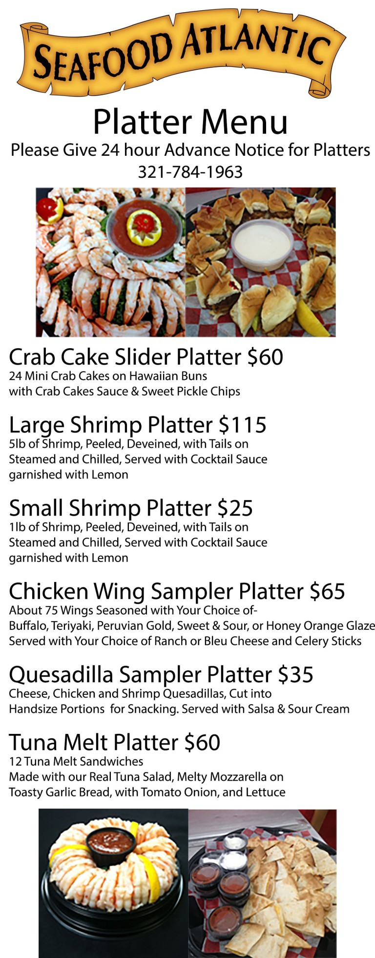 Seafood Atlantic platter menu single